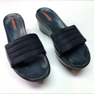 Prada Black Slip-on Wedge Peep-toe Classic Comfy
